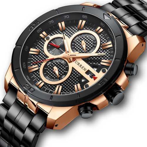 Мужские наручные часы Curren 8337 Black-Cuprum