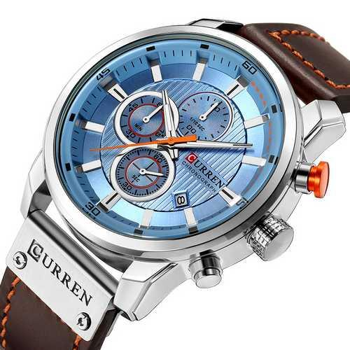 Мужские наручные часы Curren 8291 Silver-Blue
