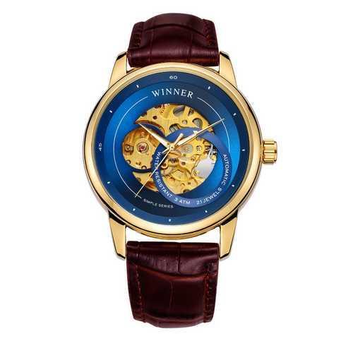 Мужские наручные часы Winner 339 Gold-Blue-Brown