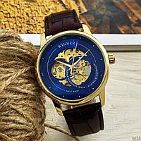 Мужские наручные часы Winner 339 Gold-Blue-Brown, фото 2