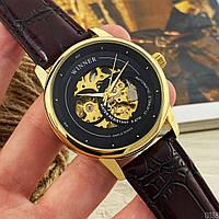 Мужские наручные часы Winner 339 Gold-Black-Brown, фото 2