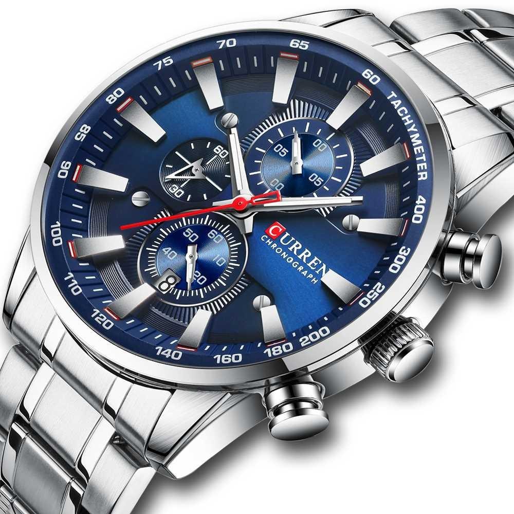 Мужские наручные часы Curren 8351 Silver-Blue