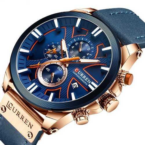 Мужские наручные часы Curren 8346 Blue-Cuprum