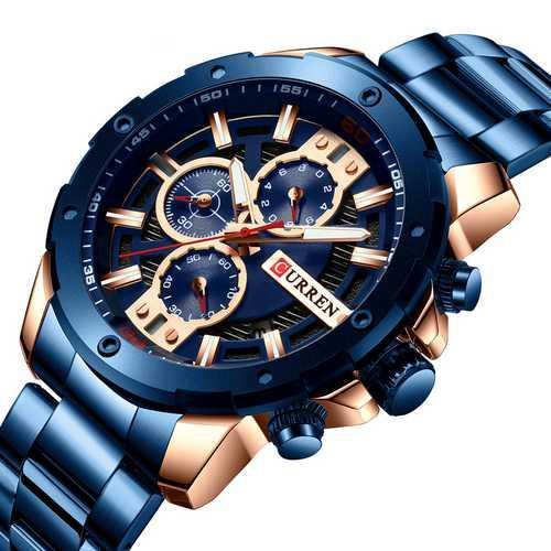 Мужские наручные часы Curren 8336 Blue-Cuprum