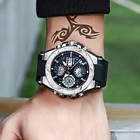 Мужские наручные часы Sanda 6008 Black-Silver, фото 2
