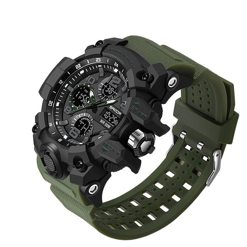 Мужские наручные часы Sanda 6021 Green-Black