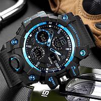 Мужские наручные часы Sanda 6021 Black-Blue, фото 2