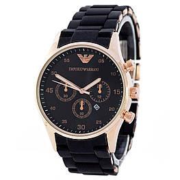 Мужские наручные часы Emporio Armani Silicone 068 Gold-Black