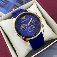 Мужские наручные часы Emporio Armani Silicone 068 Gold-Blue, фото 2