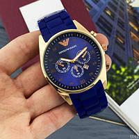 Мужские наручные часы Emporio Armani Silicone 068 Gold-Blue, фото 3