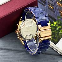 Мужские наручные часы Emporio Armani Silicone 068 Gold-Blue, фото 4