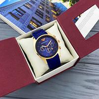 Мужские наручные часы Emporio Armani Silicone 068 Gold-Blue, фото 6