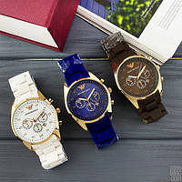 Мужские наручные часы Emporio Armani Silicone 068 Gold-Blue, фото 7