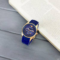 Мужские наручные часы Emporio Armani Silicone 068 Gold-Blue, фото 8