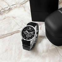 Мужские наручные часы Emporio Armani Silicone 068 Silver-Black, фото 2