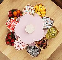 Вращающаяся складная двухъярусная конфетница Flower Candy Box для конфет и фруктов | Фруктовница