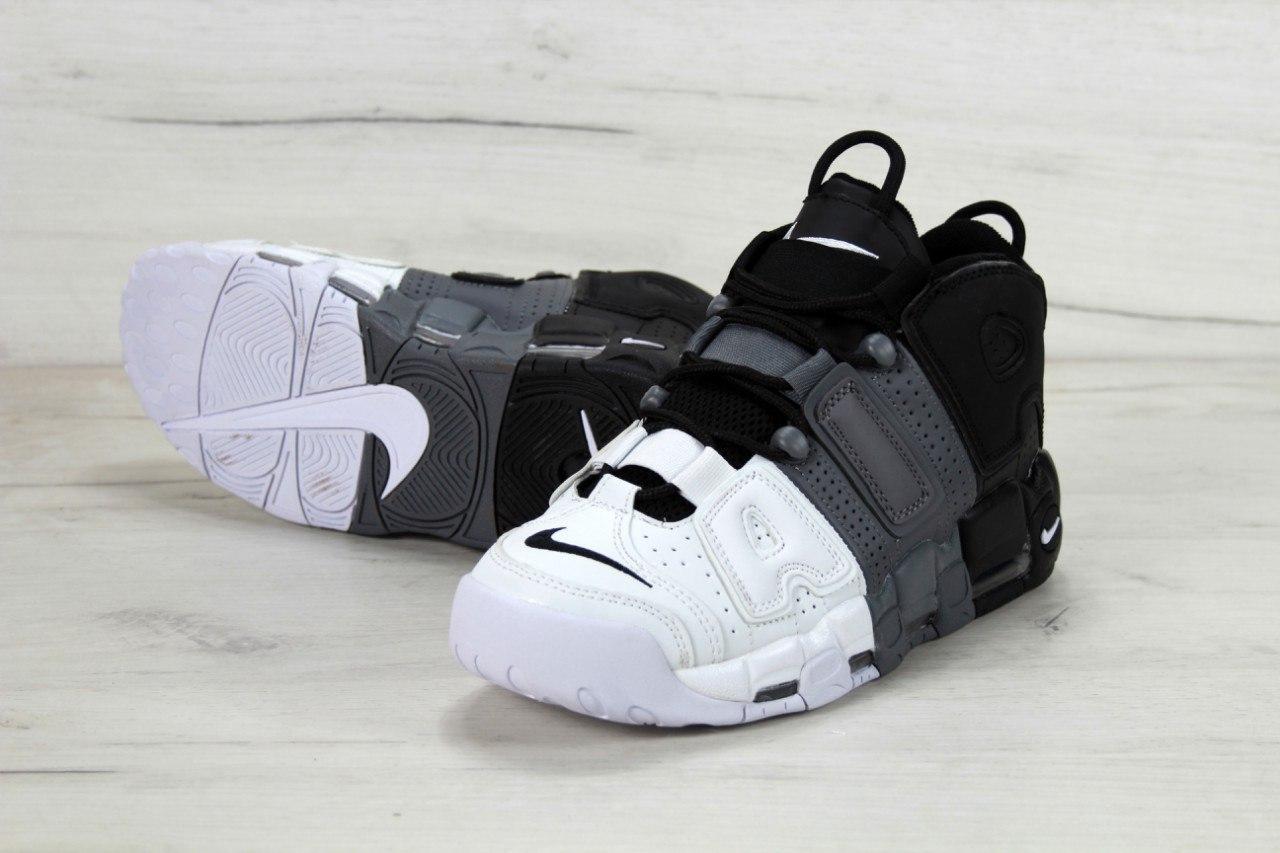 Кроссовки мужские Nike Air More Uptempo Black/White . ТОП Реплика ААА класса.