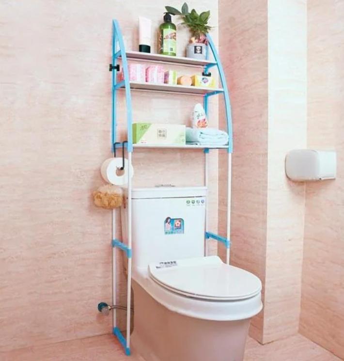 Стелаж над унітазом етажерка підлогова органайзер для туалету WM-64 Блакитна