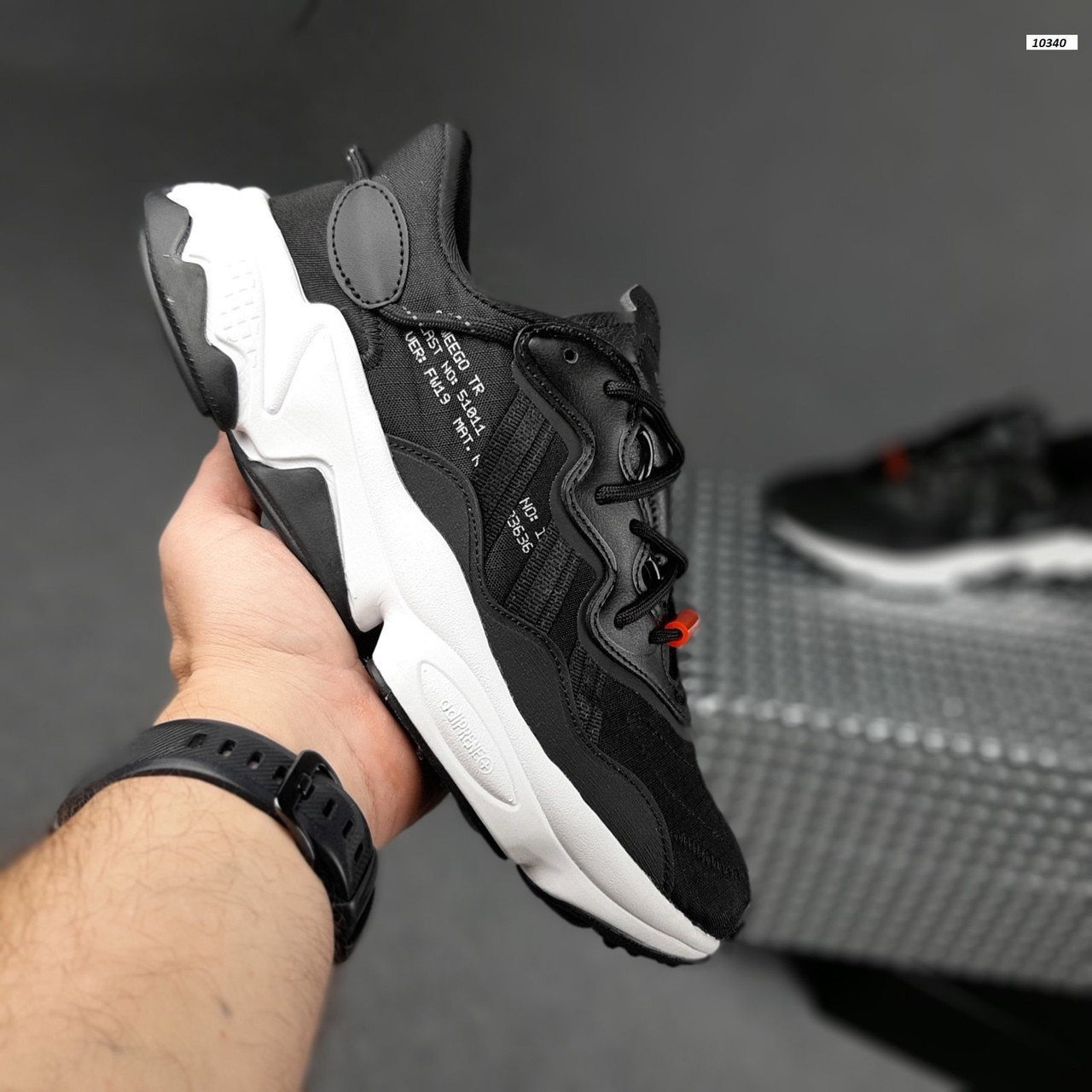 Мужские спортивные кроссовки Adidas Ozweego TR весенние (черно-белые) 10340