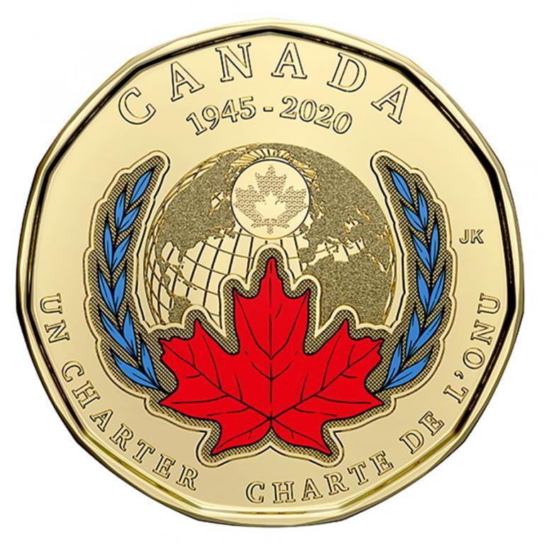 Канада 1 доллар 2020 - 75 лет ООН. цветная