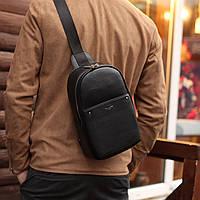Сумка рюкзак через плечо David jones дэвид джонс  мужская слинг еко-кожа черная, фото 1