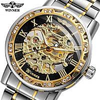 Годинники наручні чоловічі жіночі скелетоны механіка Winner 8012 Diamonds Automatic Silver-Black-Gold 1099-0025