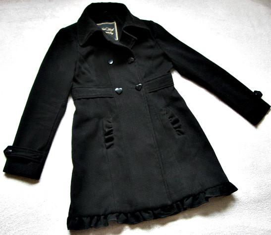 Черное женское пальто Шерсть Размер S / 44-46 Б/У Хорошее состояние