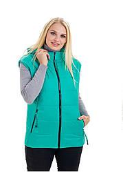 Стильний.,жіночий,демісезонний жилет,знімний капюшон, розміри з 46 по 54, м'ята (1) жіночий жилет
