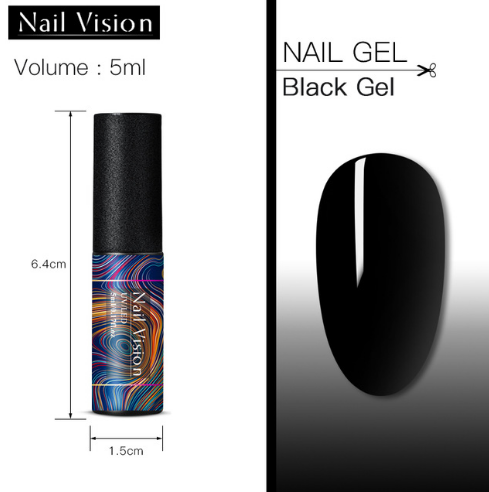 Гель-Лак Nail Vision черный №001, 5мл