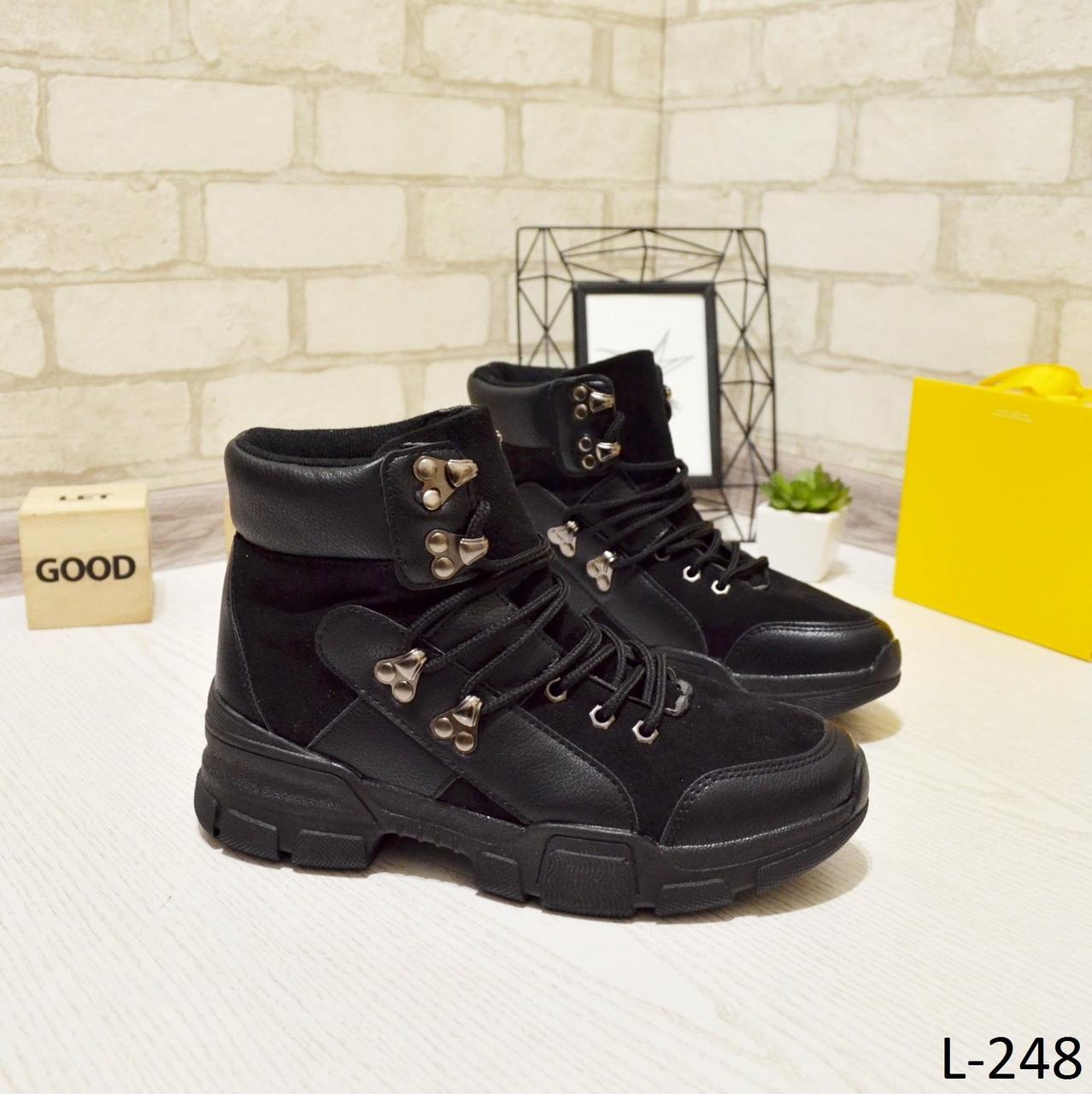 24 см Ботинки женские деми черные на низком ходу низкий ход демисезонные из искусственной кожи кожа кожаные