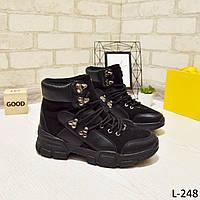 24 см Ботинки женские деми черные на низком ходу низкий ход демисезонные из искусственной кожи кожа кожаные, фото 1