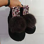 Модные валенки ручной работы. Валеши дизайнерские. Комплект чёрный бриллиант., фото 3