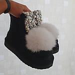 Модные валенки ручной работы. Валеши дизайнерские. Комплект чёрный бриллиант., фото 8