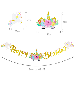 "Гирлянда с единорогами ""Happy Birthday"""
