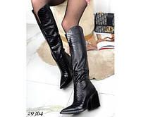 Сапоги зимние питон на каблуке 35 размер - 23,5 см, фото 1