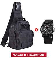 Тактическая сумка на одно плечо 6 л + подарок (тактическая, армейская, военная, мужская)