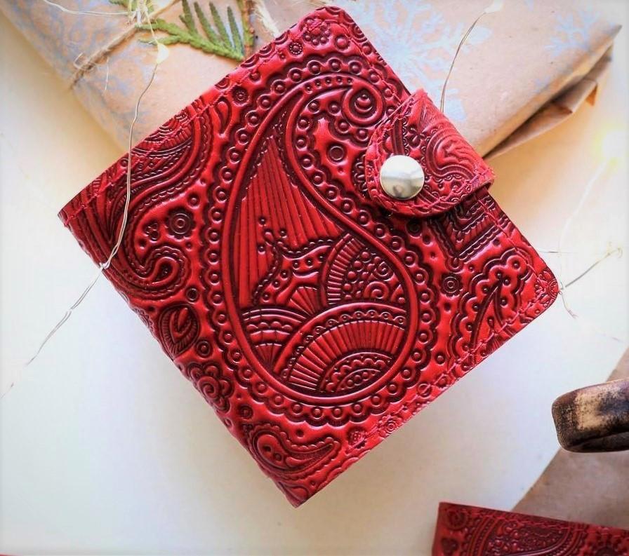 Маленький кожаный кошелек женский Восточный узор огурцы бордовый, Цветы Подсолнух Солнце Птицы Коты