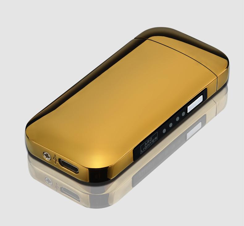 Электроимпульсная USB зажигалка Rounded gold 086_4