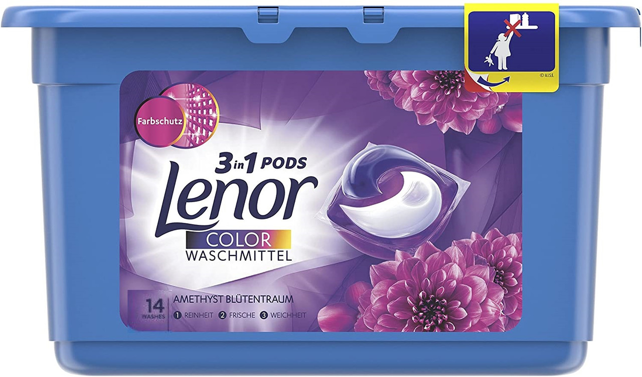 "Капсулы для стирки Lenor Pods 3 в 1 ""Color. Amethyst & Floral Bouquet"" (14шт.)"