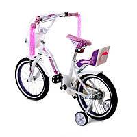 Велосипед двухколесный 16д 1701-16 белый,алюминиевый с корзинкой и сиденьем для куклы