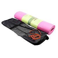 Коврик для фитнеса и йоги Meileer tpe-23 TPE двухслойный Pink (4816-14102a)
