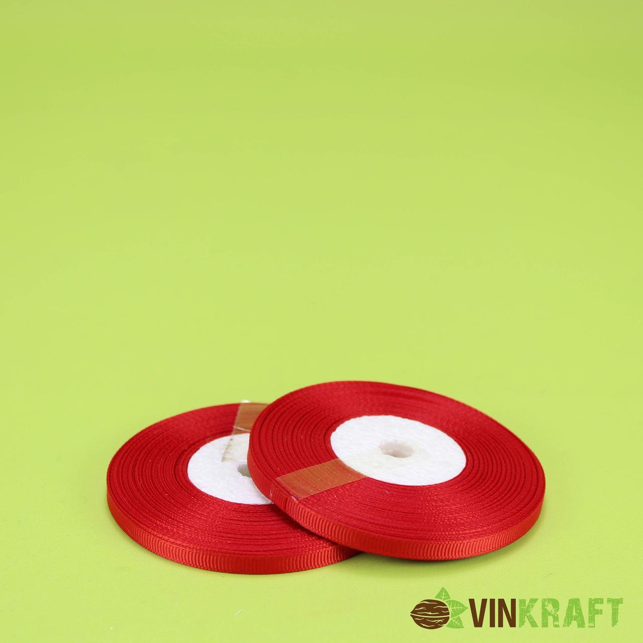 """Стрічка """"Репсова"""" 0,6 см (18 м) червона"""