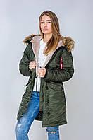 Женская зимняя куртка парка аляска цвета хаки от Olymp, качественная женская зимняя куртка 100% нейлон!