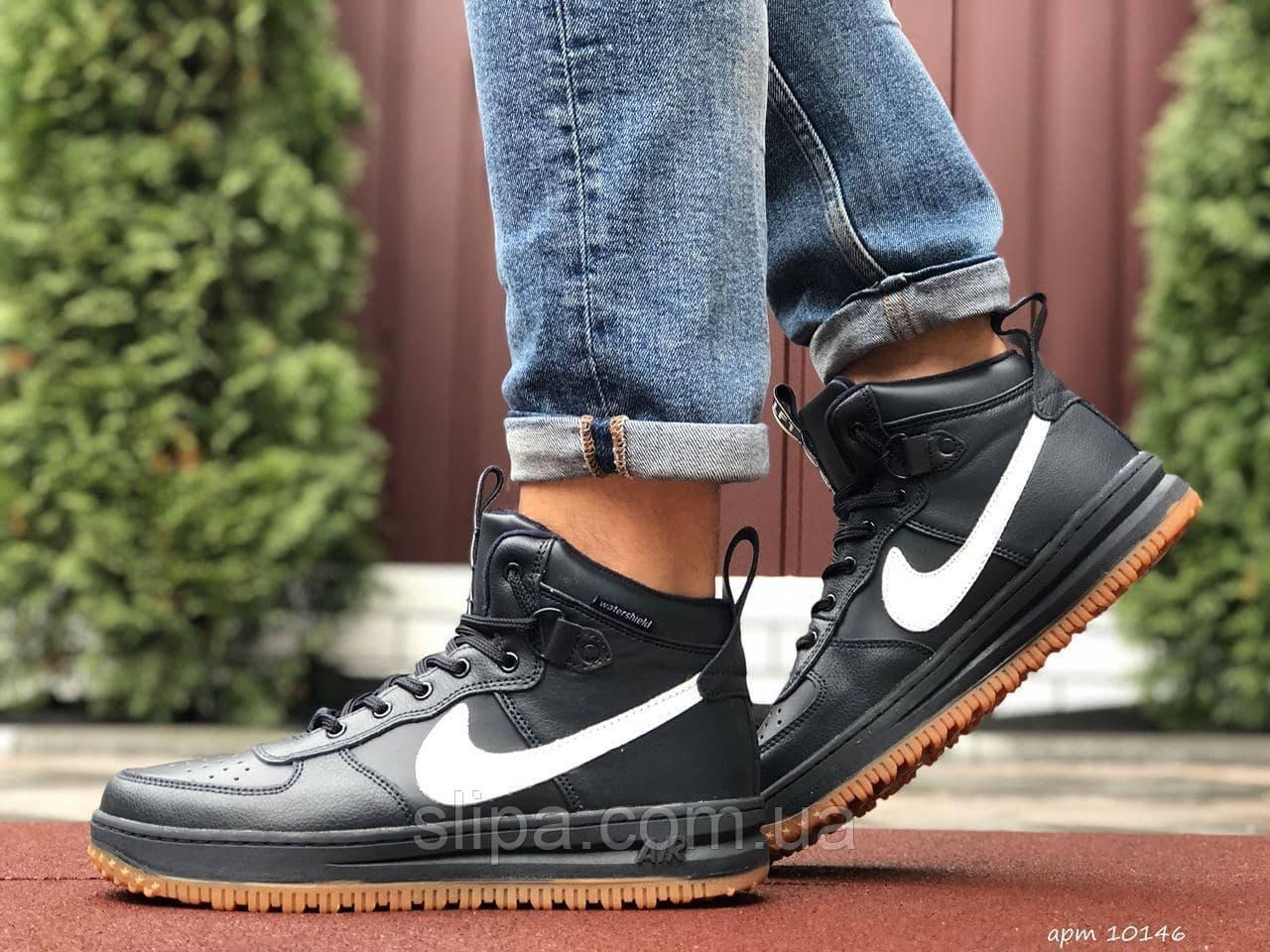 Мужские кожаные кроссовки в стиле Nike Lunar Force 1 тёмно синие с белым лого