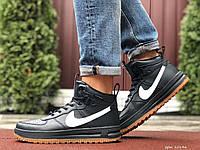 Мужские кожаные кроссовки в стиле Nike Lunar Force 1 тёмно синие с белым лого, фото 1
