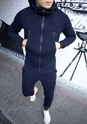 Мужской спортивный костюм с капюшоном на флисе цвет темно-синий теплый на манжетах