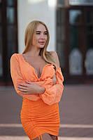 Шифоновое облегающее платье Lameia Оранжевое
