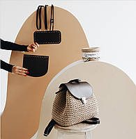 Набор для рюкзака экокожа Белый МАКСИ (10 позиций-Банановый шейк) фурнитура серебро, фото 4