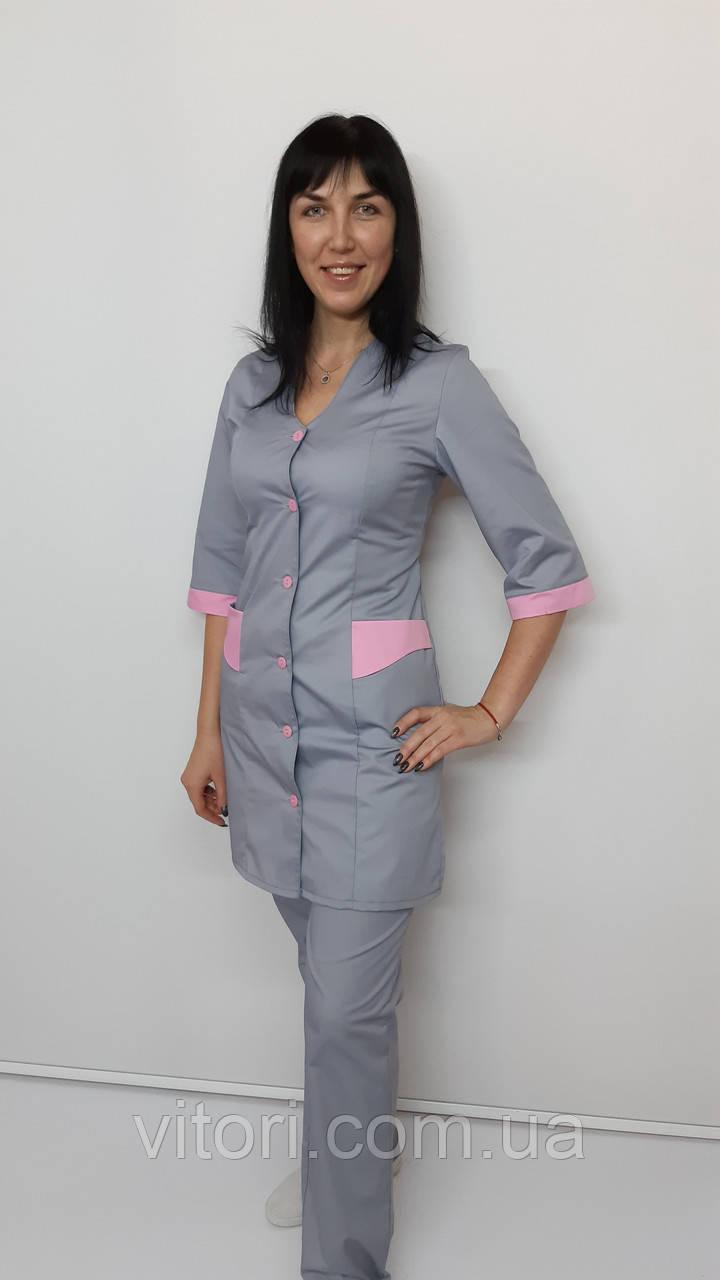 Женский медицинский костюм Волна 2-ка коттон три четверти рукав