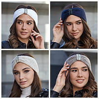 Женская вязанная повязка на голову с декором, фото 1